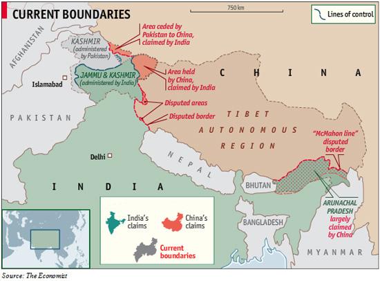 Bản đồ vùng Nam Tây Tạng, phần có màu xanh chấm đỏ